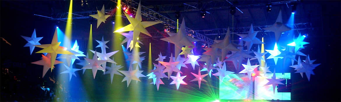 Blow productions inflatable stars, stock inflatables